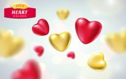 Złoci, czerwoni realistyczni serca na lekkim tle, 3d wektorowa ilustracja luksusowy kierowy kształt w różnych widokach Zdjęcia Royalty Free
