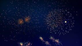 Złoci fajerwerki wybuchają przy nocą ilustracja wektor