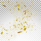Złoci i Srebni confetti Wektorowa Świąteczna ilustracja Spada Błyszczący confetti Połyskuje na Przejrzystym W kratkę Backg Obraz Stock