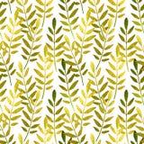 Złoci i zieleni ręcznie malowany liście na białym tle, bezszwowy wzór ilustracji