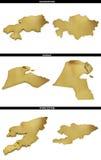 Złoci kształty od azjata twierdzą Kazachstan, Kuwejt, Kirgistan ilustracja wektor