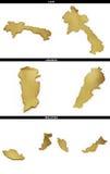 Złoci kształty od azjata twierdzą Laos, Liban, Malezja ilustracji
