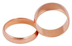 złoci odosobneni pierścionki Zdjęcia Royalty Free