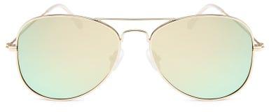 Złoci okulary przeciwsłoneczni złota lustra obiektywy odizolowywający na białym backgroun obrazy royalty free