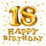 Złoci osiemnaście liczby kruszcowy balon Partyjnej dekoraci złoci balony Rocznica znak dla szczęśliwego wakacje, świętowanie, bir Fotografia Royalty Free