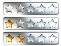 Złoci pięć gwiazdowy system oceny ilustracja wektor