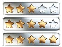 Złoci pięć gwiazdowy system oceny Obrazy Royalty Free
