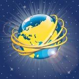 Złoci pierścionki wokoło planety Earth.Vector Illus Ilustracji