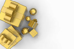 Złoci prezentów pudełka i złote boże narodzenie piłki Zdjęcie Royalty Free