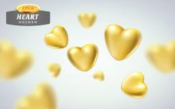 Złoci realistyczni serca na lekkim tle 3d wektorowa ilustracja kruszcowy luksusowy kierowy kształt w różnych widokach Zdjęcia Royalty Free