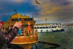 Złoci rogu Fishermens łodzi Seagulls Eminonu Istanbuł obrazy stock