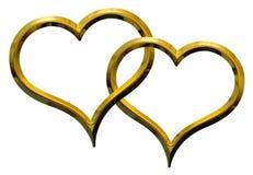złoci serca dwa Obraz Stock