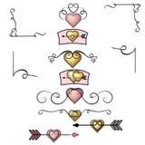 Złoci serca, różana złocista kierowa kolekcja ręka rysujący rocznika zawijasa ornamenty Walentynki ` s dnia projekta elementy Wal royalty ilustracja