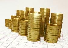 Złoci stosy moneta na pieniężnym grap 3 d czynią Obraz Royalty Free