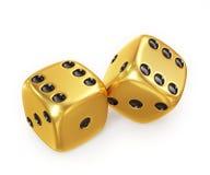 Złoci szczęsliwi kostka do gry, odizolowywający na białym tle Zdjęcia Stock