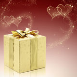 złoci teraźniejsi valentines Zdjęcie Stock