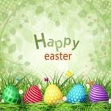 Złoci Wielkanocni jajka na drewnianym tle ilustracji
