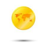 Złocista światowa mapa Zdjęcie Stock