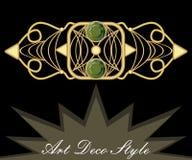 Złocista art deco broszka z zielonym klejnotu szmaragdem, antykwarski akcesorium w wiktoriański stylu, starożytniczy klejnot Zdjęcie Royalty Free