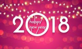 Złocista błyskotliwość 2018 Szczęśliwych nowego roku teksta czerni lśnienia wzoru confetti tło Obrazy Stock