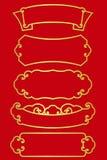 Złocista chińska rabatowej linii rama dla kierowniczego tytułu setu na czerwonego tła wektorowym projekcie Obrazy Stock