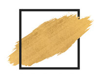 Złocista farba w czarnego kwadrata muśnięcia uderzeniach Zdjęcie Royalty Free