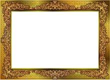 Złocista fotografii rama z narożnikowy Thailand kreskowy kwiecistym dla obrazka Fotografia Stock