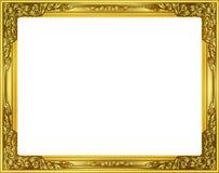 Złocista fotografii rama z narożnikowy Thailand kreskowy kwiecistym dla obrazka Zdjęcia Stock