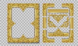 Złocista fotografii rama z narożnikowy Thailand kreskowy kwiecistym dla obrazka, Wektorowy projekt dekoraci wzoru styl ramowy rab Fotografia Stock