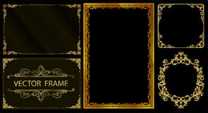 Złocista fotografii rama z narożnikowy Thailand kreskowy kwiecistym dla obrazka, Wektorowy projekt dekoraci wzoru styl ramowy rab Zdjęcie Stock