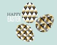 Złocista i czarna pojęcia Easter jajka dekoracja ilustracja wektor
