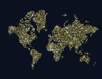 Złocista iskrzasta światowa mapa Zdjęcia Royalty Free