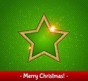 Złocista jaśnienie gwiazda, zielony tło karciany bożego narodzenia powitanie Zdjęcie Royalty Free