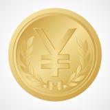 Złocista jen moneta z wektorem i ilustracją Juan symbolu †'Chińskiego pieniądze †' Fotografia Stock