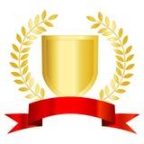 złocista laurowa czerwona tasiemkowa osłona Zdjęcia Stock