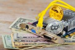 Złocista moneta bitcoin przeciw tłu obraz stock