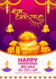 Złocista moneta w garnku dla Dhanteras świętowania na Szczęśliwym Dussehra światła festiwalu India tło ilustracji