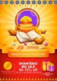 Złocista moneta w garnku dla Dhanteras świętowania na Szczęśliwym Dussehra światła festiwalu India tło ilustracja wektor