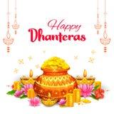 Złocista moneta w garnku dla Dhanteras świętowania na Szczęśliwym Dussehra światła festiwalu India tło royalty ilustracja