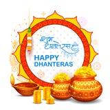 Złocista moneta w garnku dla Dhanteras świętowania na Szczęśliwym Dussehra royalty ilustracja
