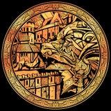 Złocista moneta z wizerunkiem rycerz w niedźwiadkowym hełmie royalty ilustracja