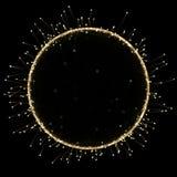 Złocista okrąg rama abstrakcjonistyczny neonowy lekkiego skutka tło dla premia produktu projekta ilustracja wektor