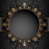 Złocista okrąg rama nad wzorem Obraz Stock