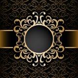 Złocista okrąg rama nad wzorem Zdjęcia Royalty Free