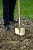 złocista rozpoczynający budowę łopata Fotografia Stock