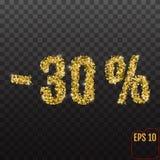 Złocista sprzedaż 30 procentów Złoty sprzedaży 30% procent na przejrzystym bac Obrazy Stock