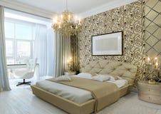 Złocista sypialnia zdjęcia stock