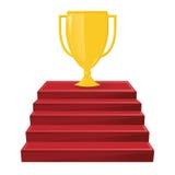 Złocista zwycięzcy ` s filiżanka na czerwonych schodkach Zwycięstwo nagroda, osiągnięcie royalty ilustracja