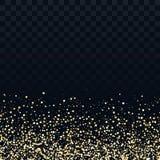 Złociste błyskotliwość cząsteczki na przejrzystym tle Wektorowa złota pył tekstura Mrugliwi confetti, migocący gwiazd światła royalty ilustracja
