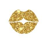 Złociste błyskotliwość wektoru wargi Złoty błyskotanie buziak royalty ilustracja